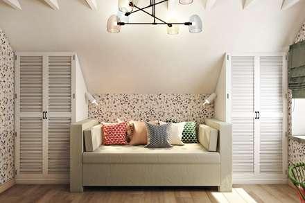 Симметричное и удобное размещение мебели: Детские комнаты в . Автор – Дизайн студия Алёны Чекалиной