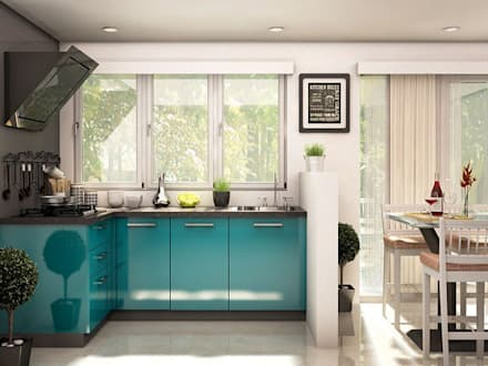 ixia l shaped modular kitchen modern kitchen by capricoast home solutions private limited - Modern Kitchen