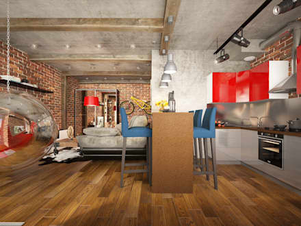 Studio in loft style: industrial Living room by design studio by Mariya Rubleva