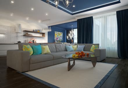 townhouse in modern style: modern Living room by design studio by Mariya Rubleva