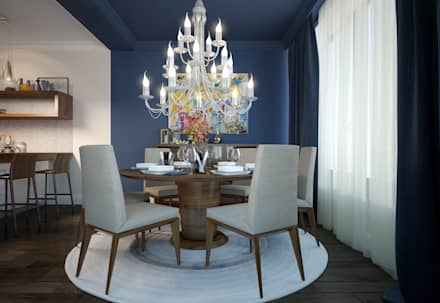townhouse in modern style: modern Dining room by design studio by Mariya Rubleva