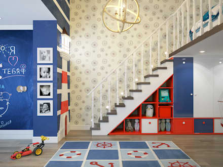 townhouse in modern style: modern Nursery/kid's room by design studio by Mariya Rubleva