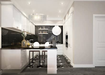 apartments in a classic style in Moscow : modern Kitchen by design studio by Mariya Rubleva