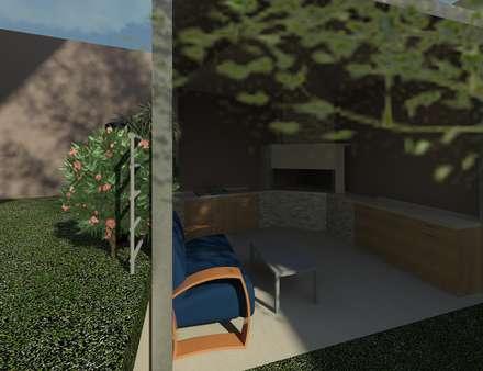 Vista de la terraza exterior: Terrazas de estilo  por Diseño Store