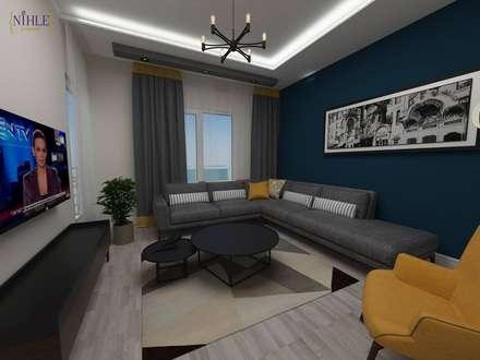 nihle iç mimarlık – KONSEPT YAPI YILDIZ PARK ÖRNEK DAİRE: modern tarz Oturma Odası
