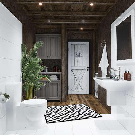 Дом для ПМЖ всего 67 кв.м.: Ванные комнаты в . Автор – Home in the Woods
