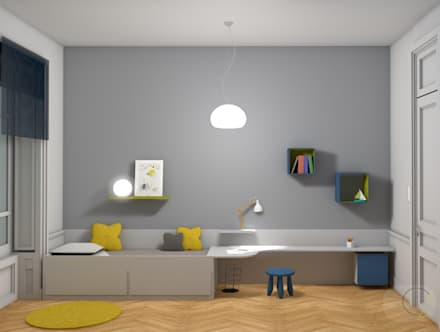 Rénovation d'un appartement haussmannien - Lyon: Chambre d'enfant de style de style Moderne par Camille BASSE, Architecte d'intérieur