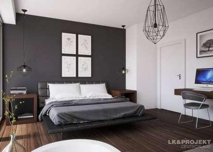 Weiß Und Grau Für Ein Cooles Einfamilienhaus.: Moderne Schlafzimmer Von  LKu0026Projekt GmbH