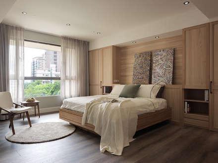 上城魅力,灰調美式:  臥室 by 陶璽空間設計