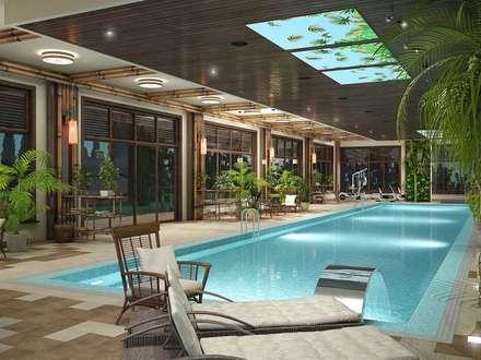 Жилой дом с бассейном 1400 кв.м.: Бассейн в . Автор – LEO Company