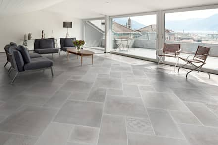 Gres effetto cemento bianco - AT 1001 : Soggiorno in stile in stile Industriale di ItalianGres