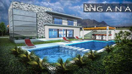 Casa A+: Jardines de estilo moderno por Grupo GANA, C.A.