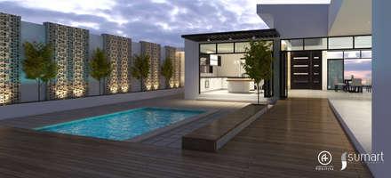 Patio Interior : Piscinas de estilo ecléctico por Arquitectura Positiva