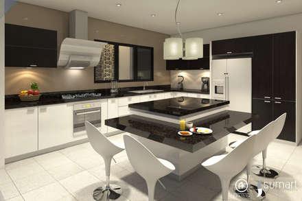 Cocina Principal : Cocinas de estilo ecléctico por Arquitectura Positiva