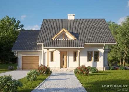 LK&807 - perspektywa frontowa: styl , w kategorii Ogród zaprojektowany przez LK & Projekt Sp. z o.o.
