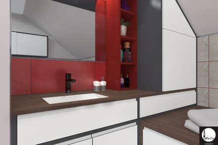 ŁAZIENKA _ red: styl , w kategorii Łazienka zaprojektowany przez ABC Pracownia Projektowa Bożena Nosiła