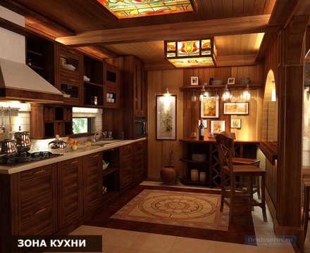 Дизайн-проект фасада дома и интерьера в стиле шале: Кухни в . Автор – Студия интерьера Дениса Серова