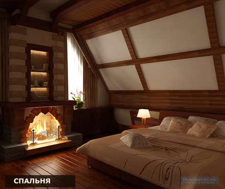 Дизайн-проект фасада дома и интерьера в стиле шале: Спальни в . Автор – Студия интерьера Дениса Серова