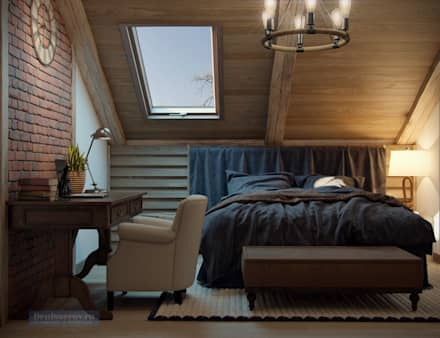 Дизайн спальни в стиле шале: Спальни в . Автор – Студия интерьера Дениса Серова