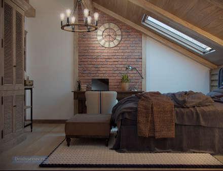 Дизайн-проект дома в стиле прованс площадью 300 кв.м: Спальни в . Автор – Студия интерьера Дениса Серова