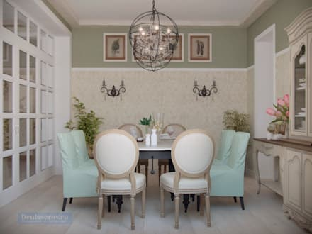 Дизайн-проект дома в стиле прованс площадью 300 кв.м: Столовые комнаты в . Автор – Студия интерьера Дениса Серова