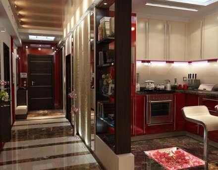 Дизайн трехкомнатной квартиры 80 метров с эркером: Коридор и прихожая в . Автор – Студия интерьера Дениса Серова