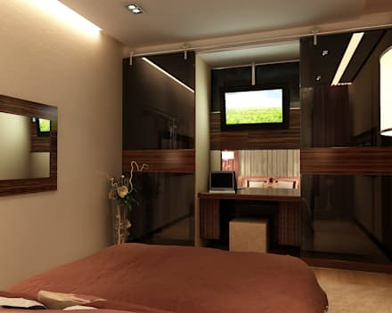 Дизайн трехкомнатной квартиры 80 метров с эркером: Спальни в . Автор – Студия интерьера Дениса Серова