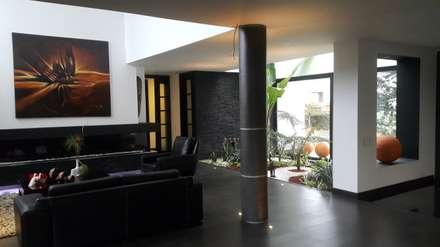 Area social.: Jardines de estilo moderno por Camilo Pulido Arquitectos