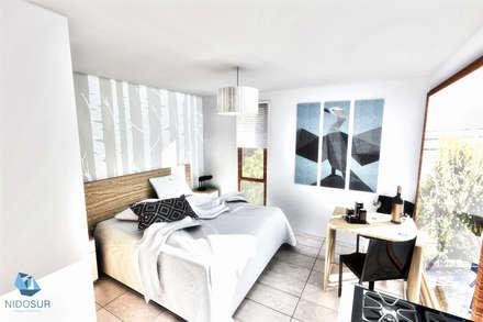 MA Edificio Residencial: Dormitorios de estilo moderno por NidoSur Arquitectos