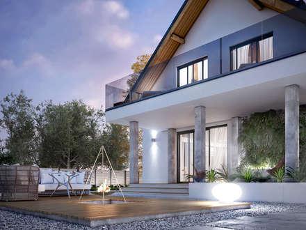 Wizualizacja projektu domu Amarylis 5: styl nowoczesne, w kategorii Domy zaprojektowany przez BIURO PROJEKTOWE MTM STYL