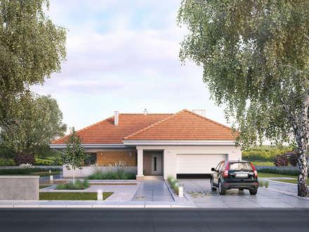 Wizualizacja projektu domu Ambrozja 7: styl nowoczesne, w kategorii Domy zaprojektowany przez BIURO PROJEKTOWE MTM STYL