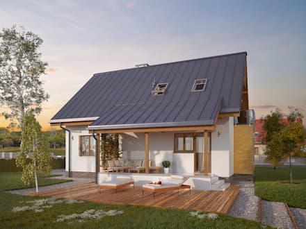 Wizualizacja projektu domu Aloes: styl nowoczesne, w kategorii Domy zaprojektowany przez BIURO PROJEKTOWE MTM STYL