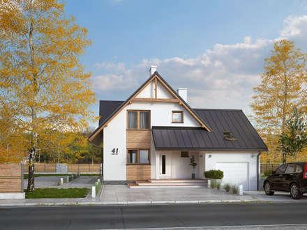 Wizualizacja projektu domu Sopran: styl nowoczesne, w kategorii Domy zaprojektowany przez BIURO PROJEKTOWE MTM STYL