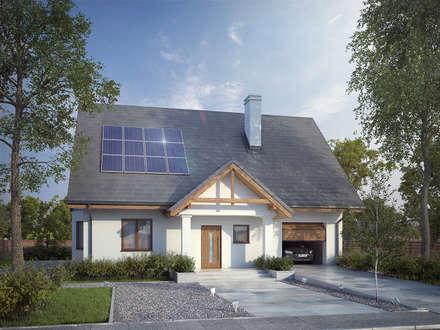 Wizualizacja projektu domu Goździk: styl nowoczesne, w kategorii Domy zaprojektowany przez BIURO PROJEKTOWE MTM STYL