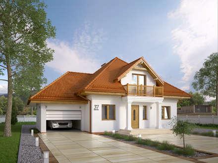 Wizualizacja projektu domu Wilga: styl nowoczesne, w kategorii Domy zaprojektowany przez BIURO PROJEKTOWE MTM STYL