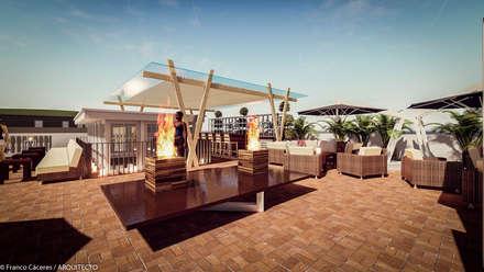 HOTEL BOUTIQUE BARRANCO - LIMA: Terrazas de estilo  por FRANCO CACERES / Arquitectos & Asociados