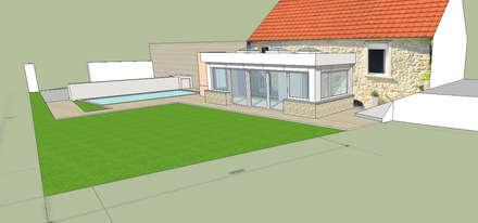 VERANDA ET PISCINE. projet en cours: Maisons de style de style Moderne par Eric Rechsteiner