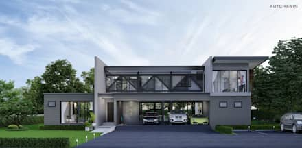 บ้านขนาด1ครอบครัวเล็กสำหรับคู่แต่งงานใหม่ สไตล์ลอฟท์และโมเดิร์น ที่จ.นครศรีธรรมราช :  บ้านและที่อยู่อาศัย by Autchawin Architect Co., Ltd.