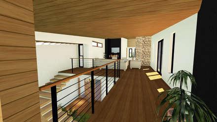 VIVIENDA UNIFAMILIAR DE NIEBLA - VALDIVIA: Pasillos, hall y escaleras de estilo  por GerSS Arquitectos