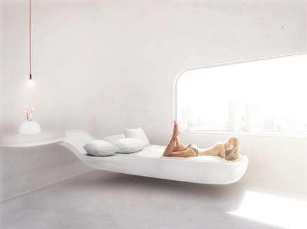 Organische Slaapkamer in een energie-autarkische villa in Almere: minimalistische Slaapkamer door OLA architecten