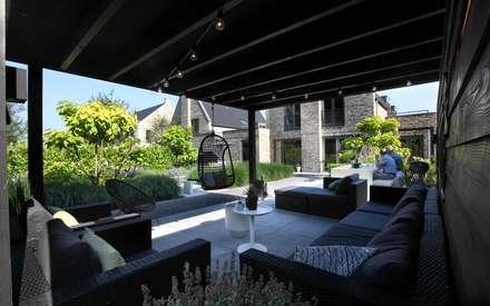 Lekkere veranda in de achtertuin: moderne Tuin door Stoop Tuinen