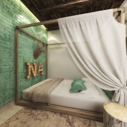 Современное шале: Спальни в . Автор – decoroom