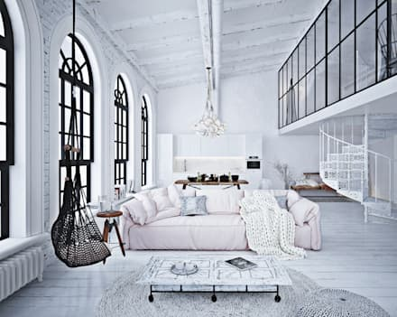 Дизайн апартаментов в стиле лофт: Гостиная в . Автор – GM-interior
