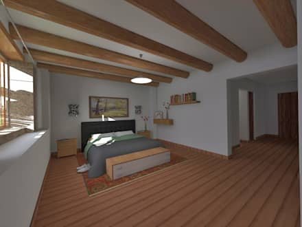 Dormitorio: Cuartos de estilo rústico por ROQA.7 ARQUITECTOS