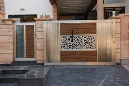 main gate design modern houses by ravi nupur architects - Modern Houses Ideas
