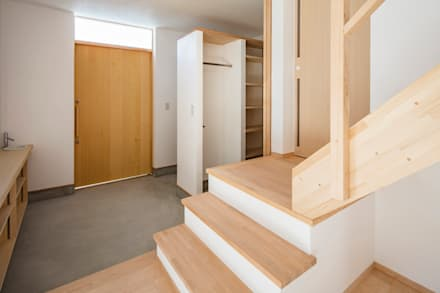 泉大津の家-triangle roof-: 祐建築設計事務所が手掛けた玄関/廊下/階段です。