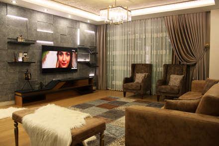 50GR Mimarlık – Cevizlibağ_Salon tasarımı: klasik tarz tarz Oturma Odası