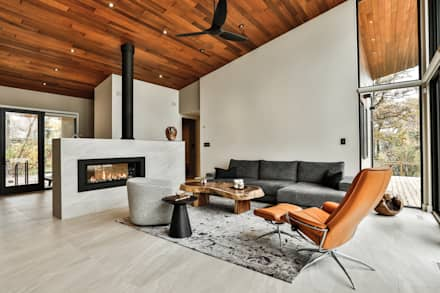 Winnipeg beach weekend home: modern Living room by Unit 7 Architecture