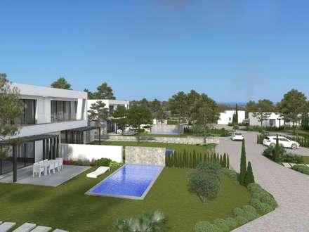 Acacia. Las Colinas. Marjal: Jardines de estilo mediterráneo de GESTEC. Arquitectura & Ingeniería