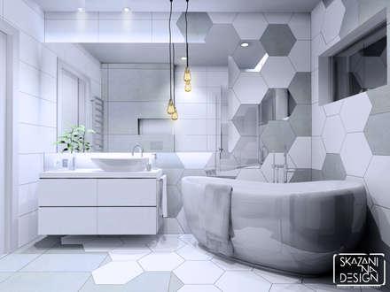 WERSJA KOLORYSTYCZNA 2 z betonem: styl , w kategorii Łazienka zaprojektowany przez SKAZANI NA DESIGN Studio Architektury